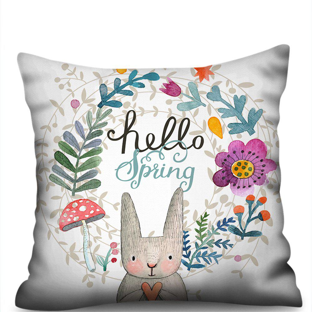 Online Garland Rabbit Double-Sided Printing Imitation Hemp Pillowcase Without Core