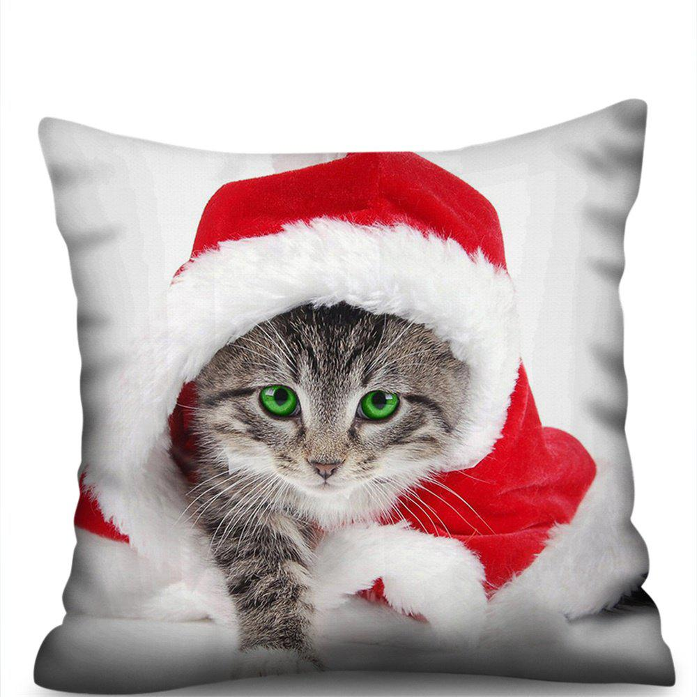 Outfits Christmas Kitten Double-Sided Printing Imitation Hemp Pillowcase Without Core