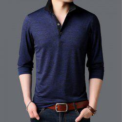 New Man Fashion Full Sleeve Turn-Down Collar Cotton Mixed Handsome T-Shirt -
