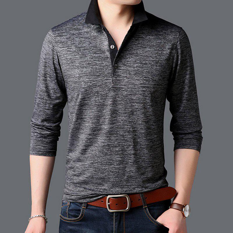 Trendy New Man Fashion Full Sleeve Turn-Down Collar Cotton Mixed Handsome T-Shirt