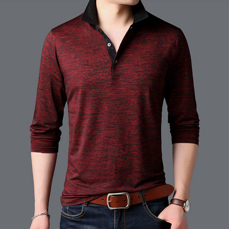 Sale New Man Fashion Full Sleeve Turn-Down Collar Cotton Mixed Handsome T-Shirt