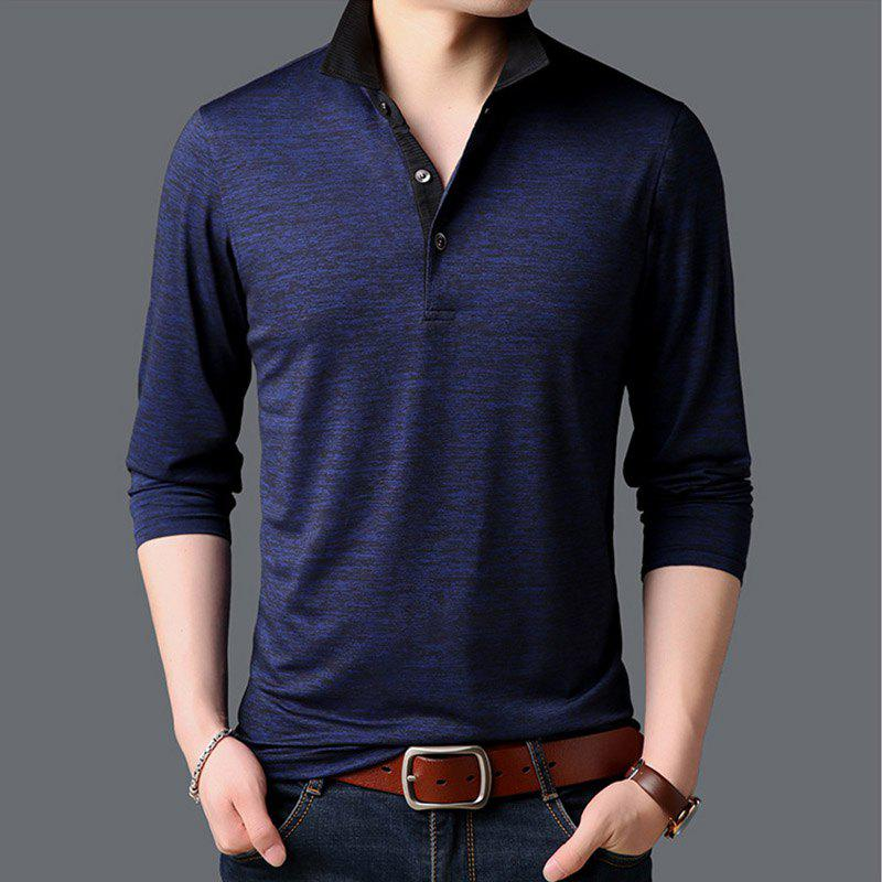 Online New Man Fashion Full Sleeve Turn-Down Collar Cotton Mixed Handsome T-Shirt