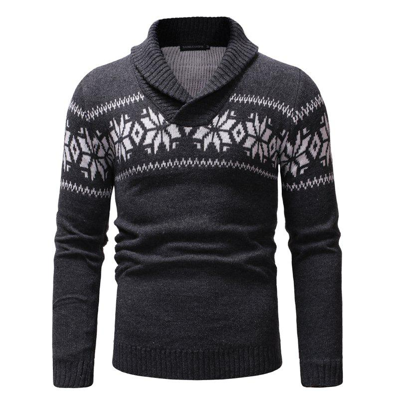 Store New Man Fashion Turn-Down Collar Full Sleeve Casual Sweater