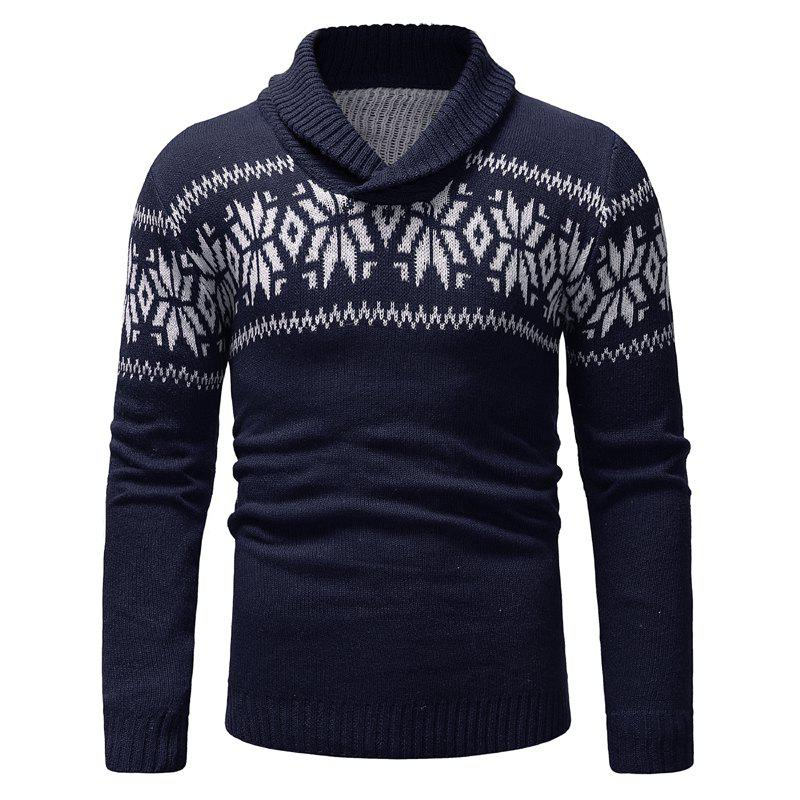 Fashion New Man Fashion Turn-Down Collar Full Sleeve Casual Sweater