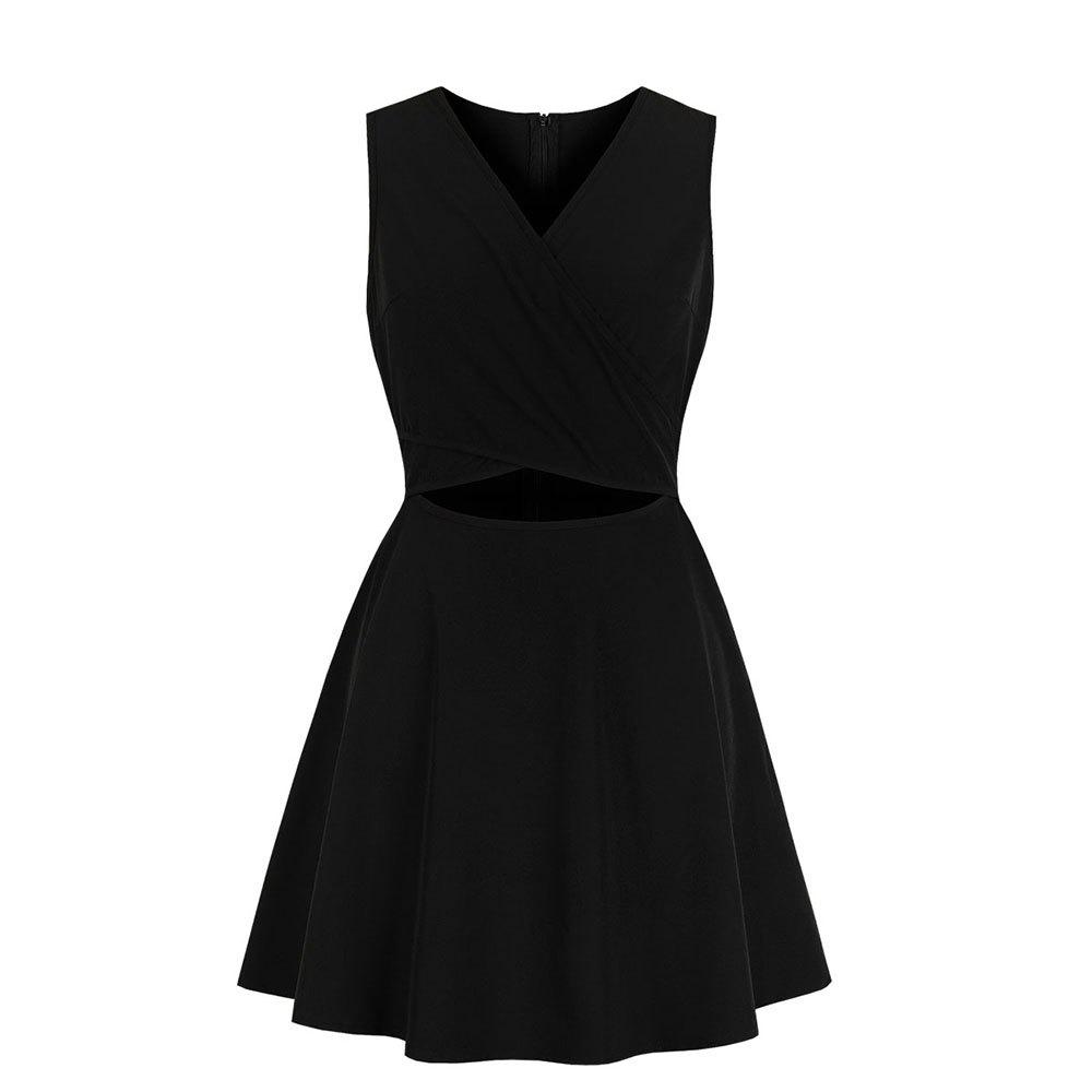 Discount V-Neck Cross Lacing Black Simple Dress