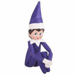 the Christmas Elf Soft Toy Smiley Face Sits On Shelf Boy and Girl Elve -