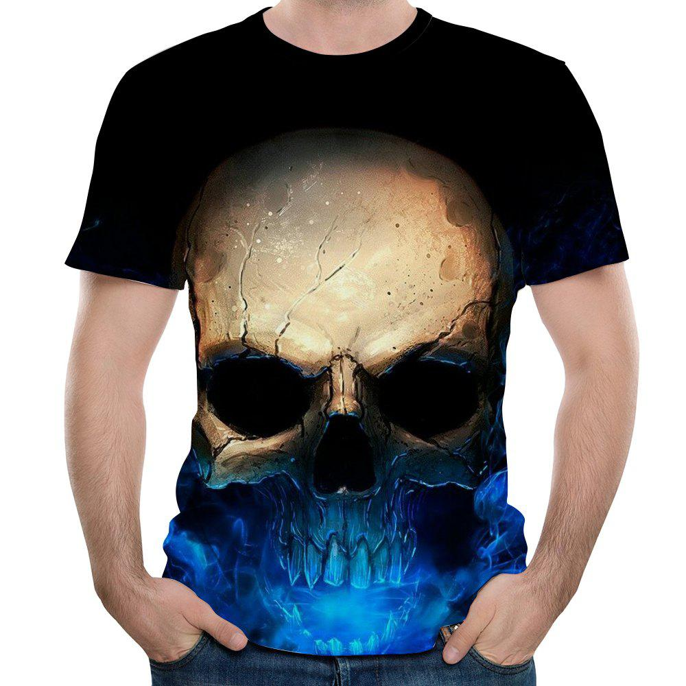 Online New Men Fashion Casual 3D Printed Skull Short T-Shirt