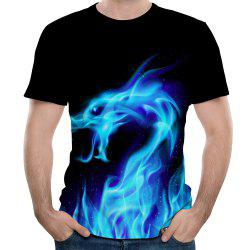 New Men Dragon Fashion Casual 3D Printing Short T-Shirt -