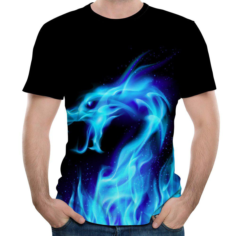 Trendy New Men Dragon Fashion Casual 3D Printing Short T-Shirt