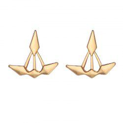 Unsymmetrical Double Diamond Front and Rear Earrings -