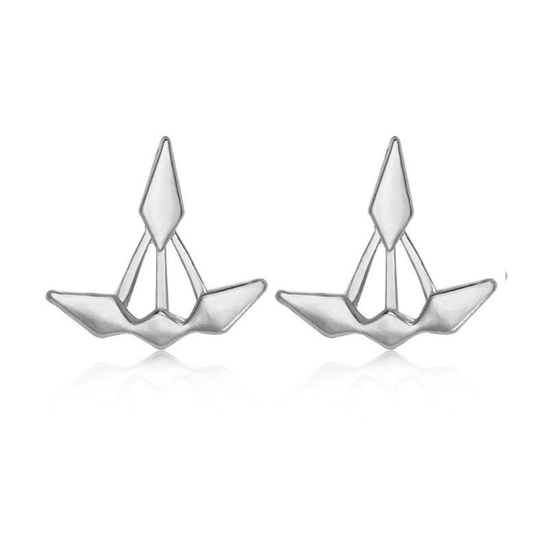 Discount Unsymmetrical Double Diamond Front and Rear Earrings