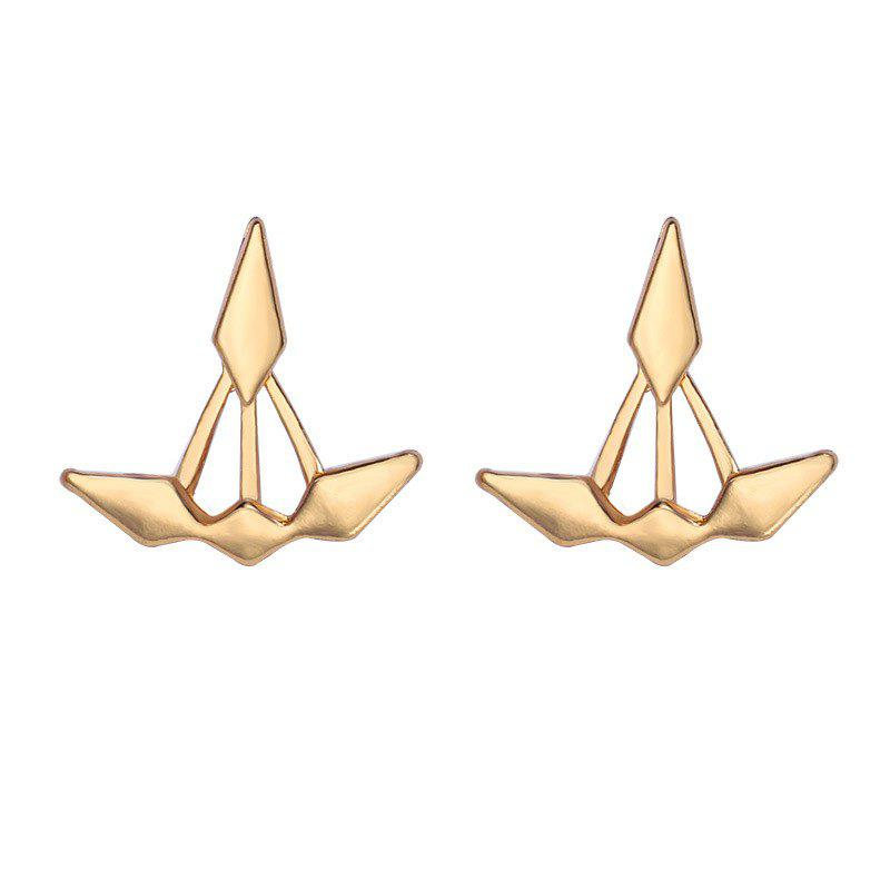Cheap Unsymmetrical Double Diamond Front and Rear Earrings