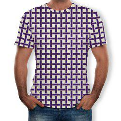 3D Summer Fashion Square Print Men's Short Sleeve T-shirt -