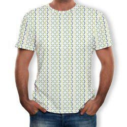 3D Summer Fashion Grid Print Men's Short Sleeve T-shirt -