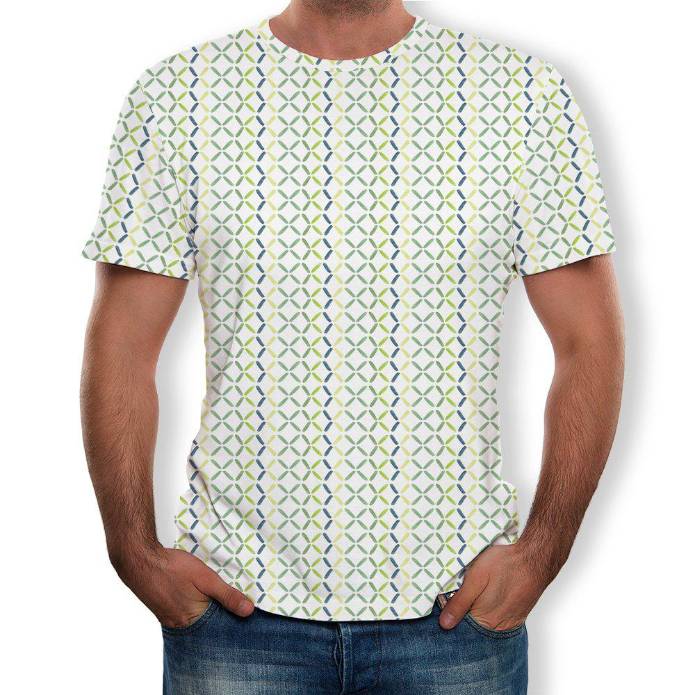 Buy 3D Summer Fashion Grid Print Men's Short Sleeve T-shirt