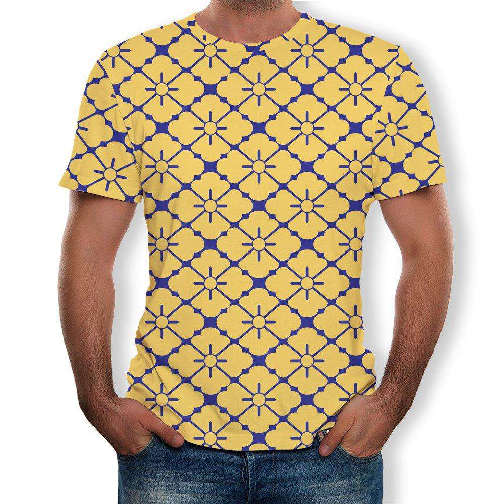 Best 3D Summer Fashion Grid Print Men's Short Sleeve T-shirt