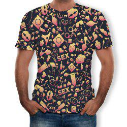 3D Summer Fashion Personality Alphabet Printed Men's Short Sleeve T-shirt -