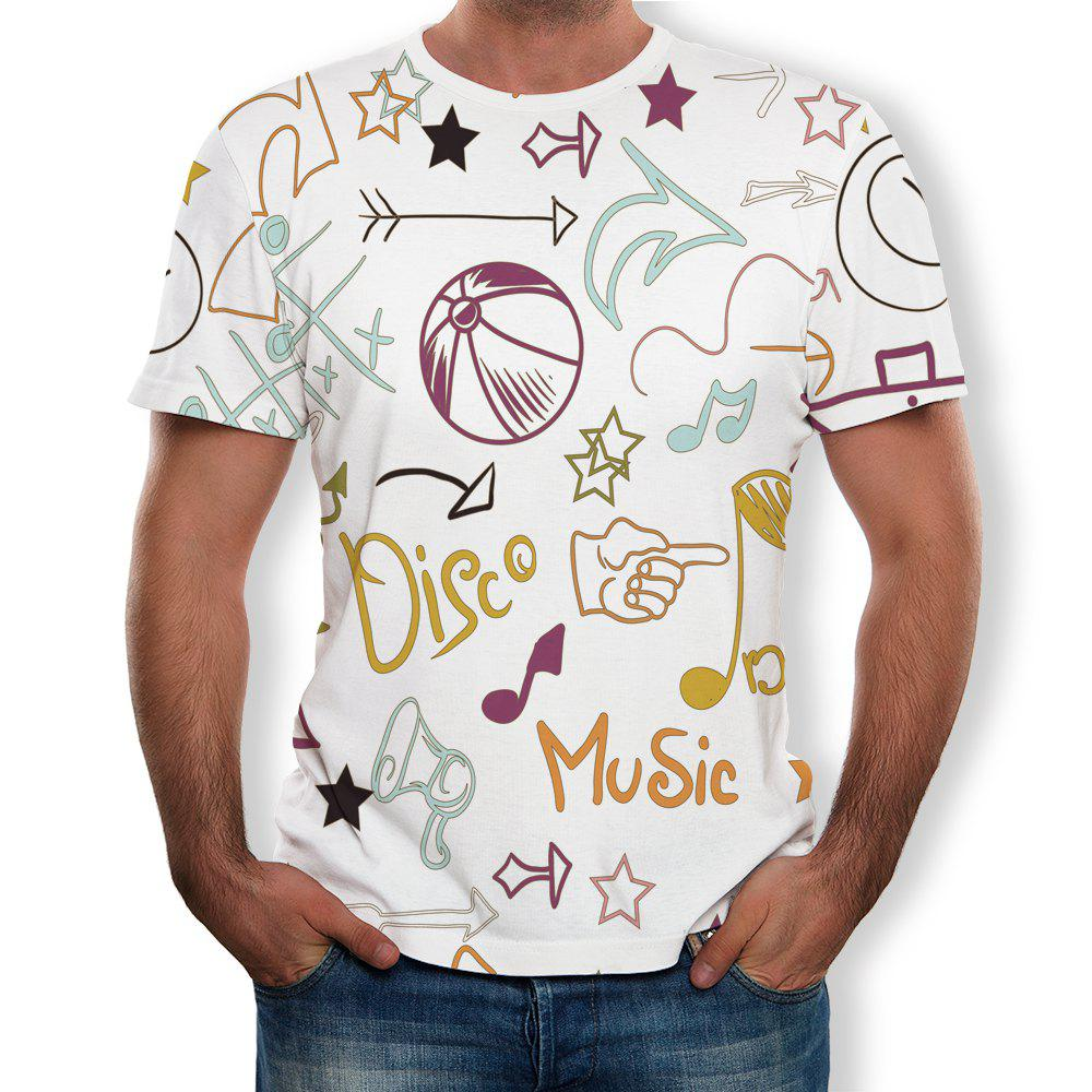 Shop 3D Summer Fashion Personality Alphabet Printed Men's Short Sleeve T-shirt