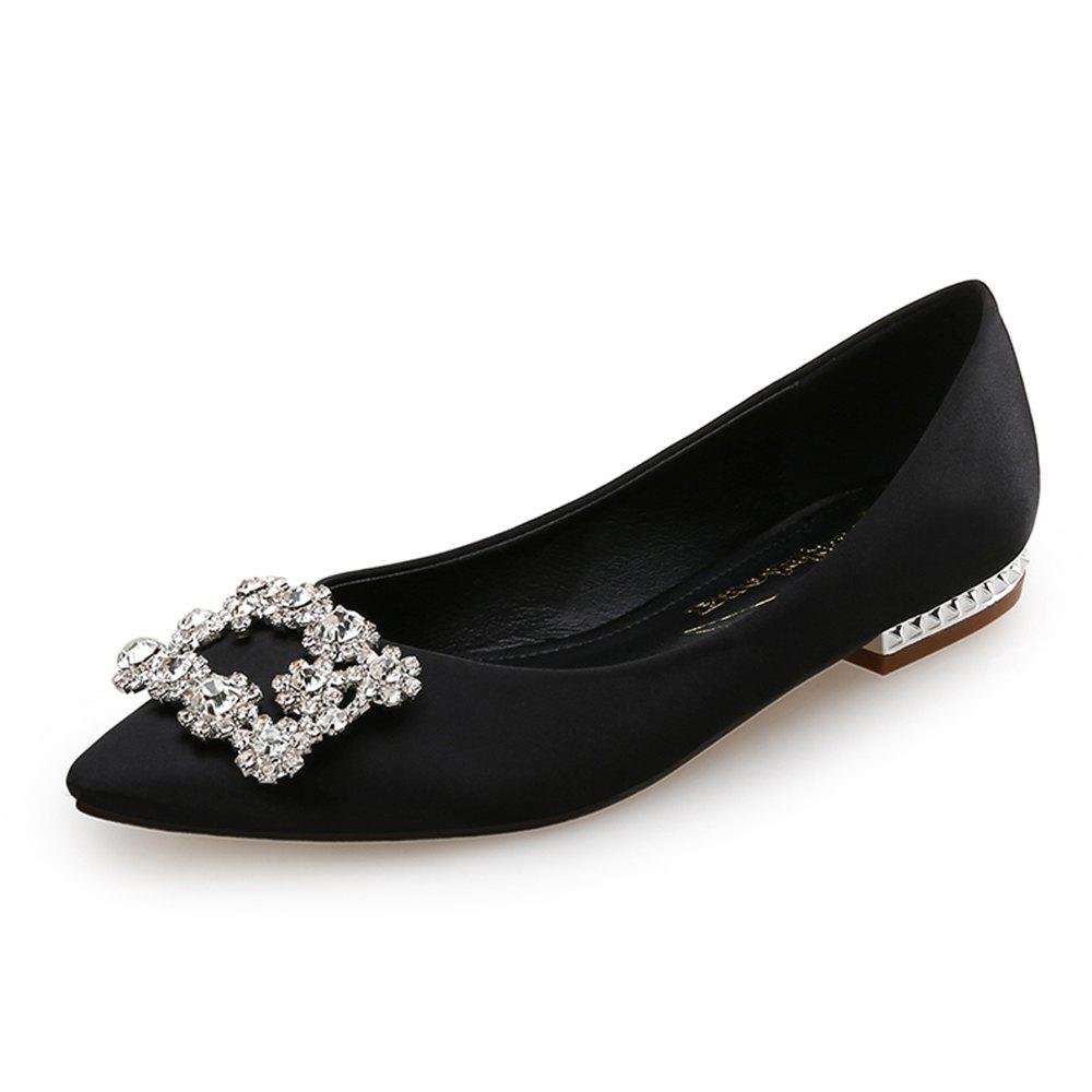 7cba9bcc1 Best Rhinestone Buckle Pointed Shallow Mouth Satin Flat Women S Shoes