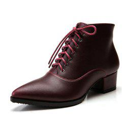 Pointed Thick With Lace-Up Shoes Short Tube Women'S Boots -