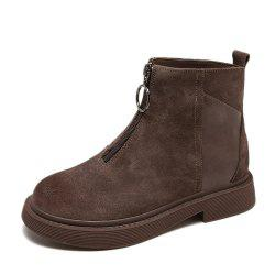Women'S Add Wool Zippered Retro British Low Heel Flat Ankle Boot -