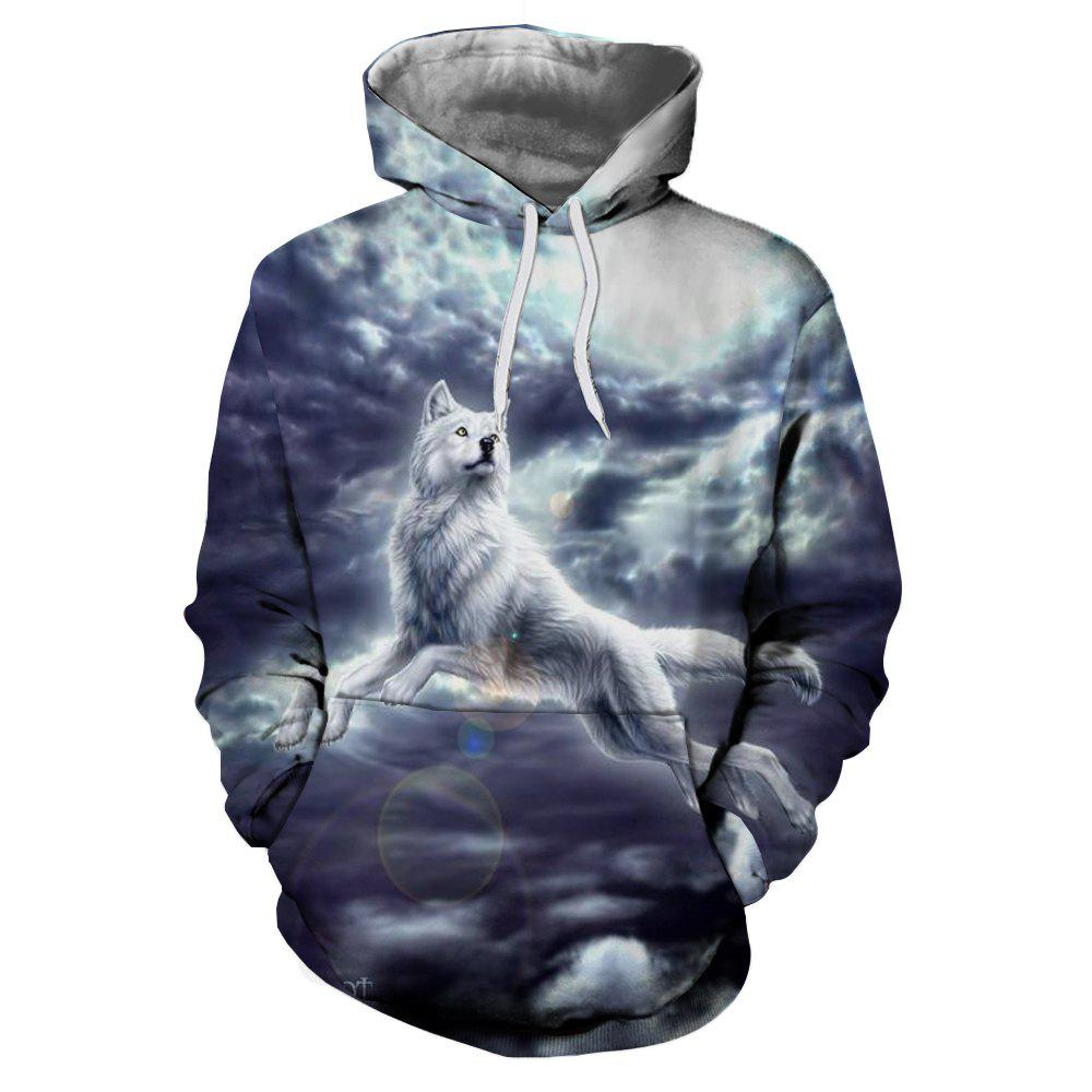 Discount Men'S Hooded Hoodie 3D Printing White Fox Europe and The United States Trend