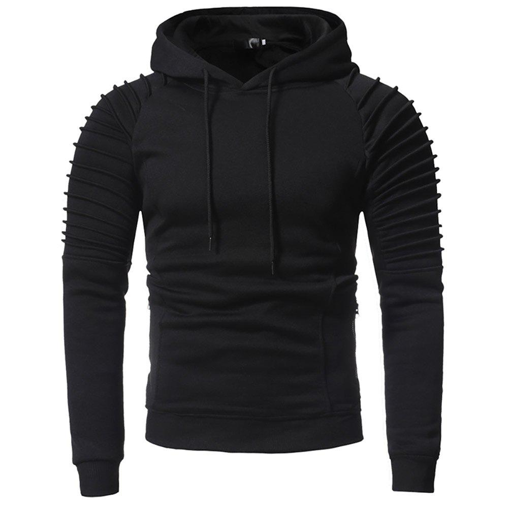 Chic Men'S Fashion Personality Pleated Design Casual Slim Hoodie