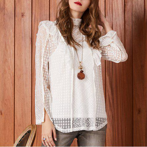 SBETRO Lace Blouse Long Sleeve High Mock Neck Fashion Dressy Mixed Tunic Top