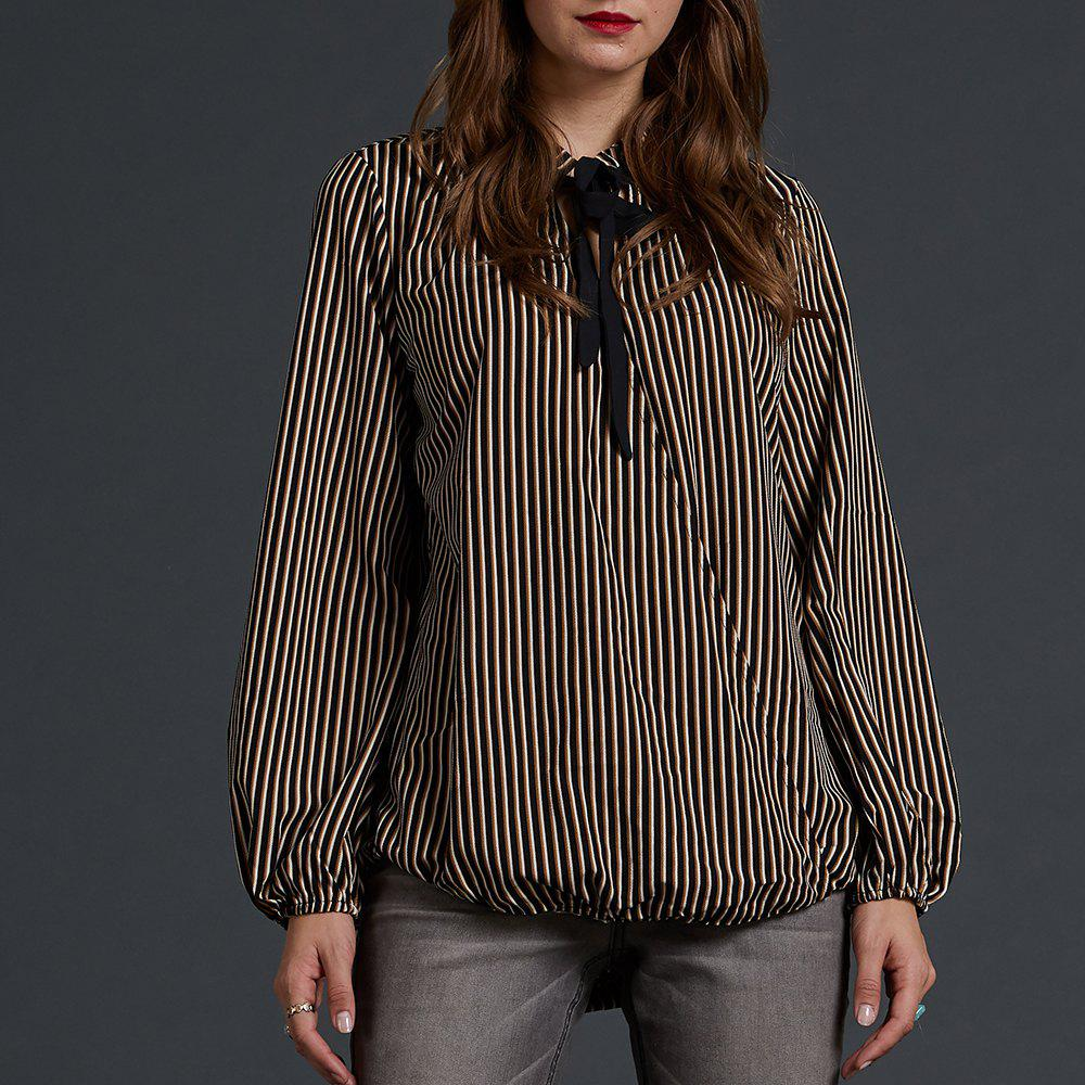 Fancy SBETRO Striped Crepe Printed Blouse Tie Neck Lantern Sleeve Office Lady