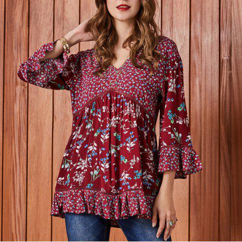 SBETRO Floral Print Blouse 3/4 Bell Sleeve Lace Tunic Top Casual Fashio