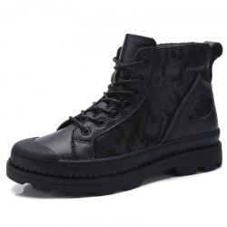 Large Size Men Leather Wear-Resistant Anti-Skid Leisure Tooling Motorcycle Boots -