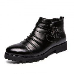 Men Leather High-Top Set of Business Casual Formal Shoes -