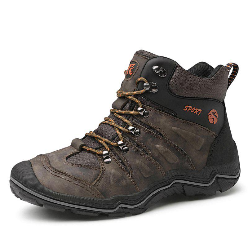 Chic Large Size Men Leather Wear-Resistant Anti-Skid Leisure Outdoor Hiking Shoes