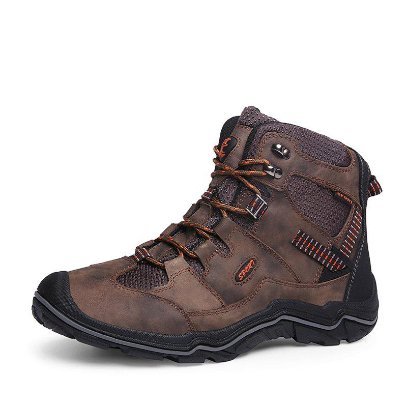 Fashion Large Size Men Wear-Resistant Anti-Skid  Leather  Leisure Outdoor Hiking Shoes