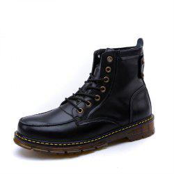 Men Leather Lace-Up Wear-Resistant Outdoor Leisure Tooling Motorcycle Boots -