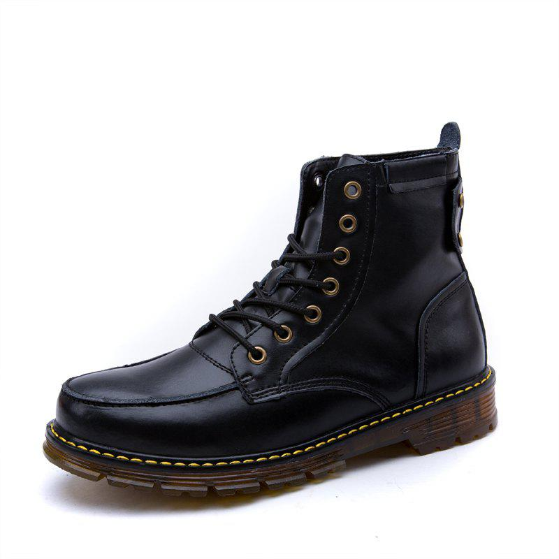 New Men Leather Lace-Up Wear-Resistant Outdoor Leisure Tooling Motorcycle Boots