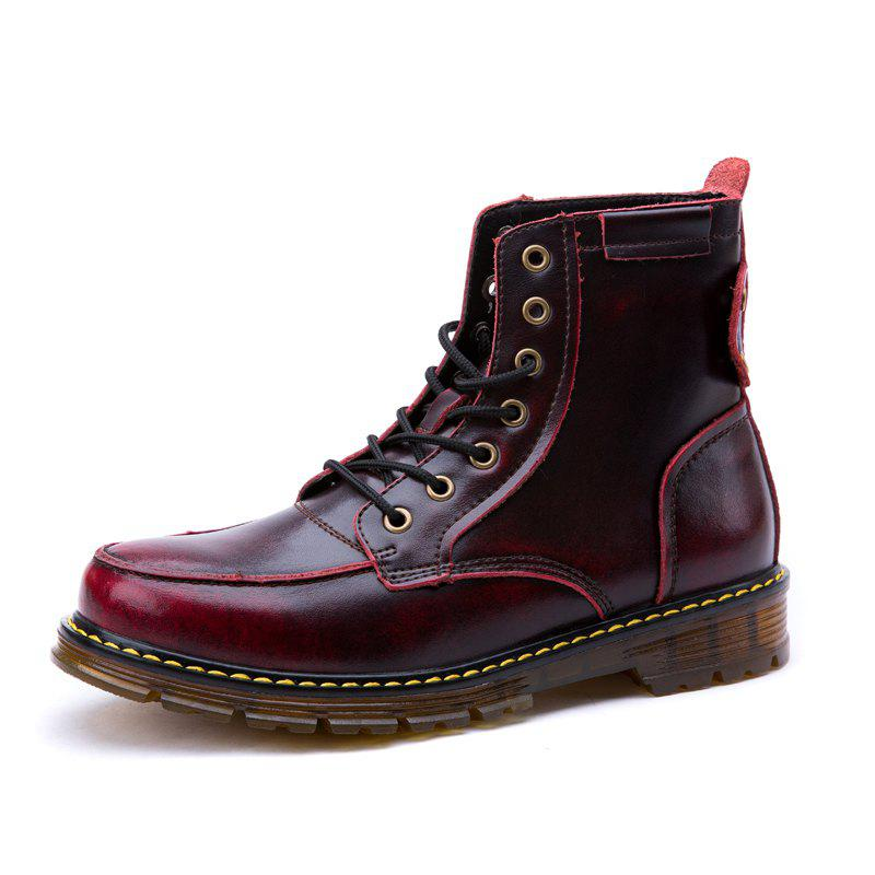 Sale Men Leather Lace-Up Wear-Resistant Outdoor Leisure Tooling Motorcycle Boots