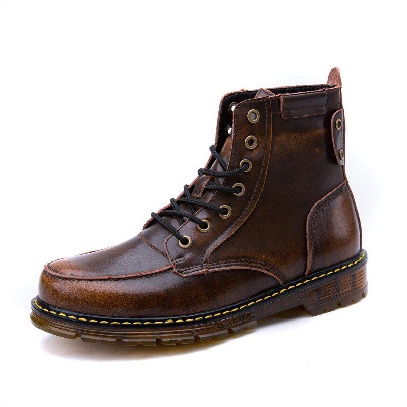 Discount Men Leather Lace-Up Wear-Resistant Outdoor Leisure Tooling Motorcycle Boots