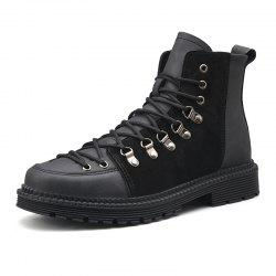 Men Lace Trend  Low-Heeled Casual Shoes Tooling Boots -