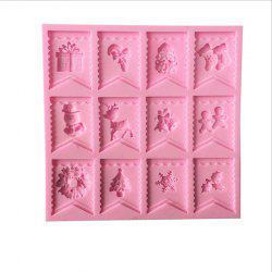 DIY Christmas Flags Liquid Silicone Fondend Cake Mold -