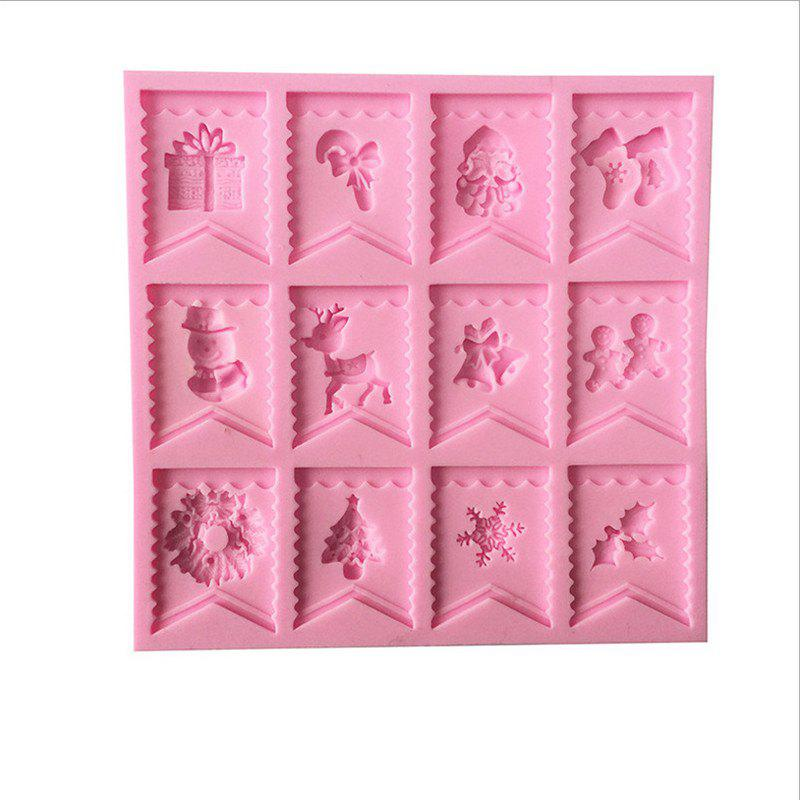 DIY Christmas Flags Liquid Silicone Fondend Cake Mold