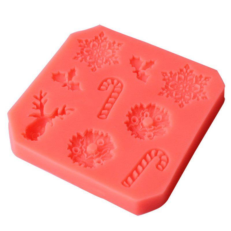 Trendy 2PCS Christmas Series Children DIY Snowflake Elk Invert Sugar Silicon Mold