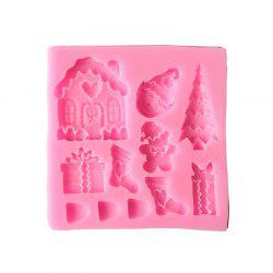 2PCS Christmas Tree House Liquid Silicone Mold Turns Sugar Cake Baked -