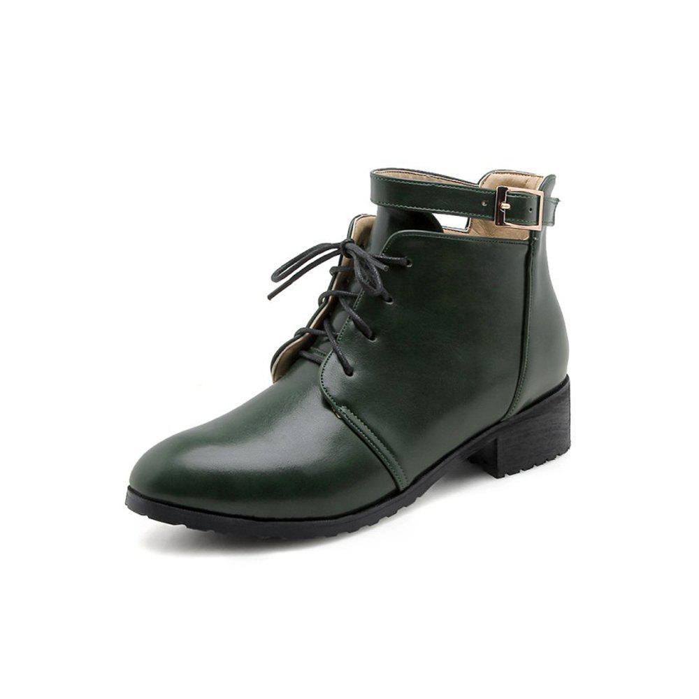 Best Autumn and Winter Small Round Head with Women'S Boots Ankle Boots Fashion Belt B