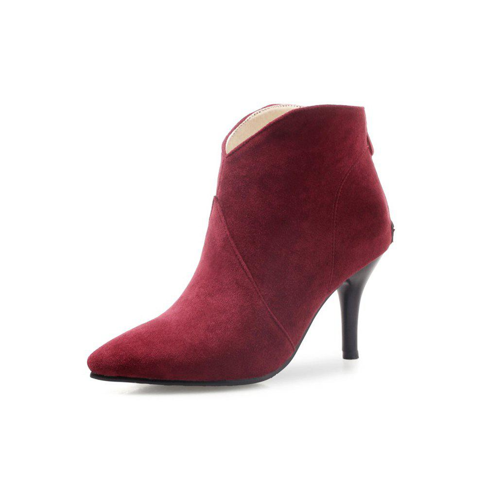 Chic Autumn and Winter High-Heeled Pointed Fashion Women'S Boots Ankle Boots