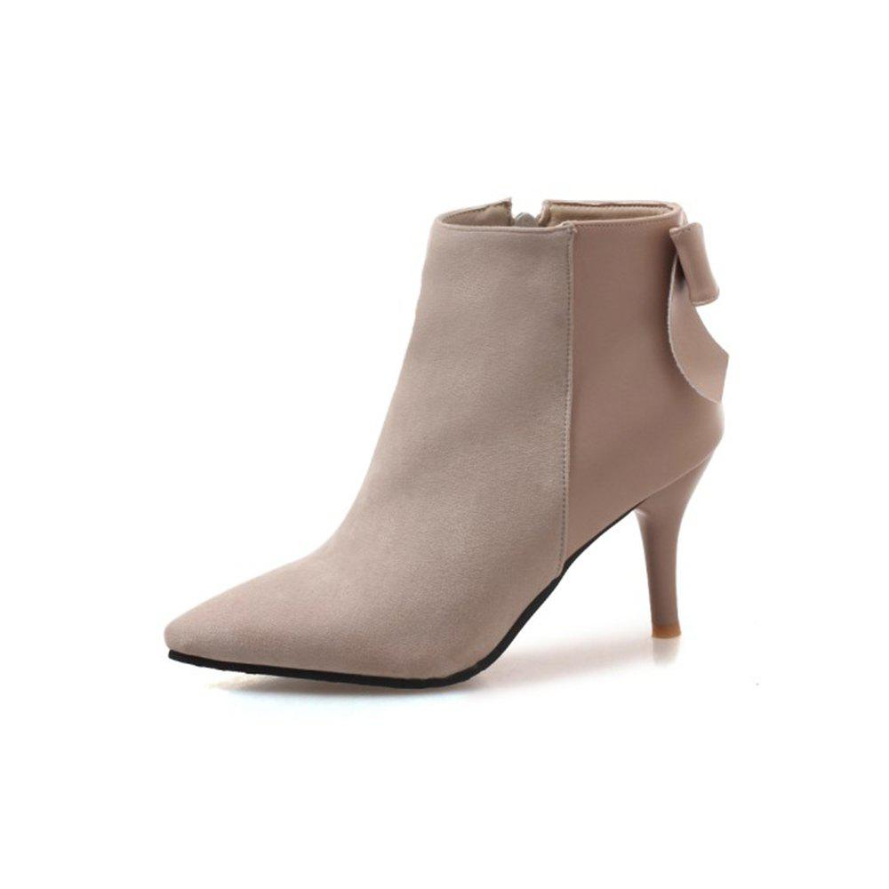Fancy Autumn and Winter Fashion New High-Heeled Pointed Female Boots Stitching Upper B