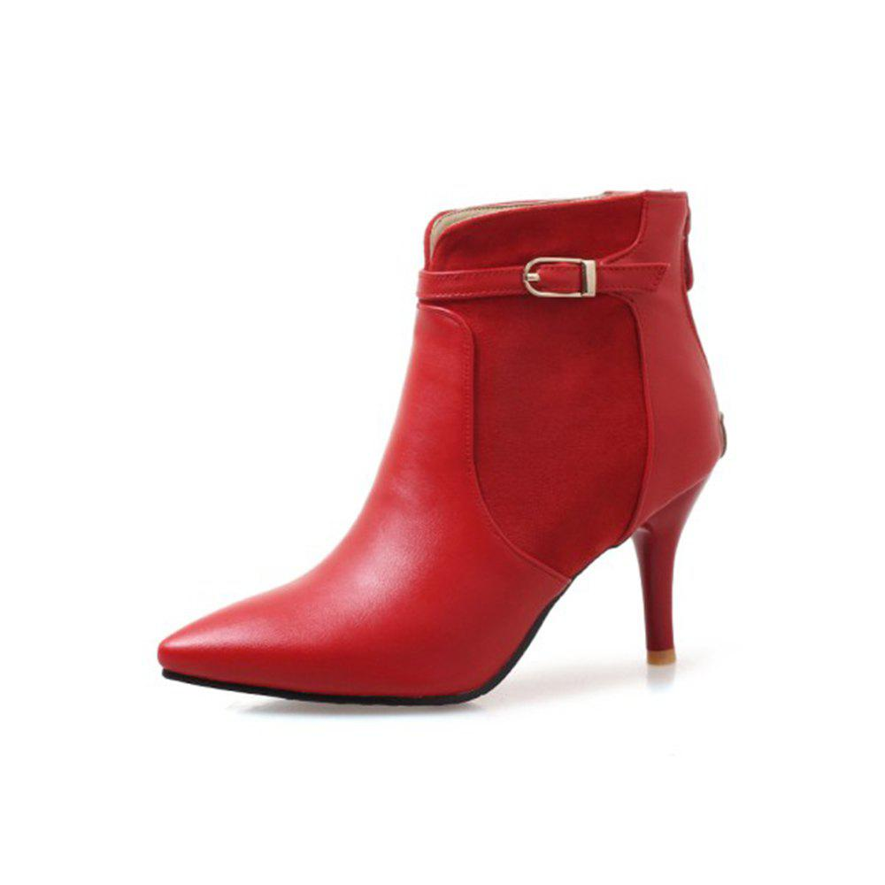 Discount Autumn and Winter Fashion Stitching Upper Zipper Booties New High-Heeled Pointed