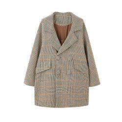 Loose and Comfortable Overcoat Within Large Plaid Pocket -