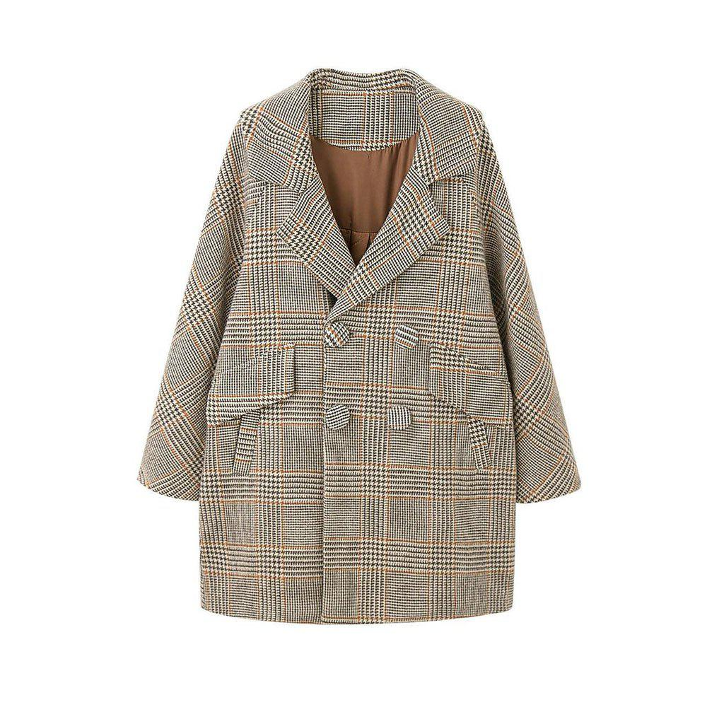 Hot Loose and Comfortable Overcoat Within Large Plaid Pocket