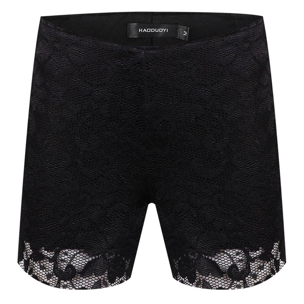 Affordable HAODUOYI Women's Lace Wavy Bottom Shorts Black